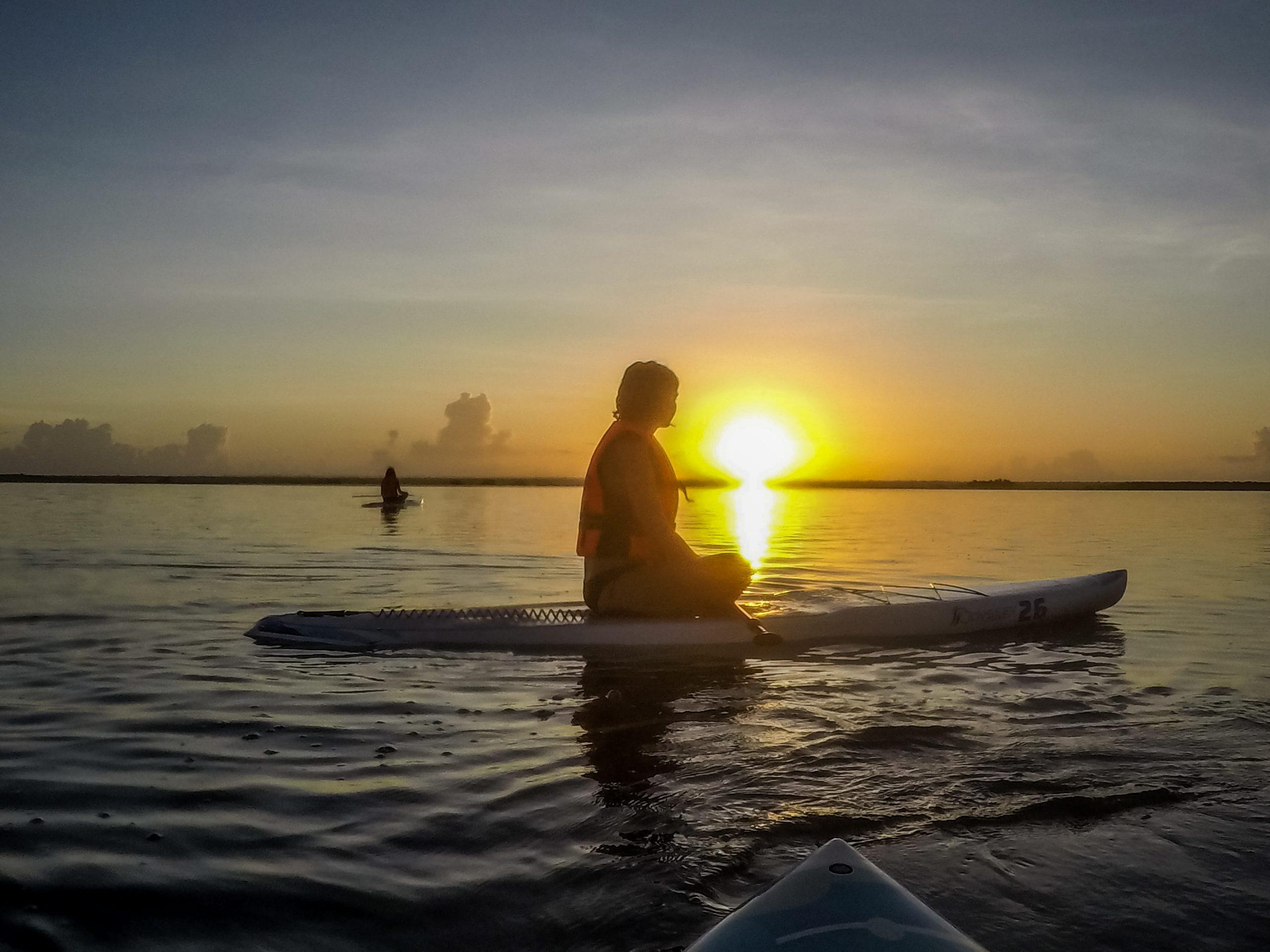 Paddle au coucher du soleil - Bacalar - Mexique
