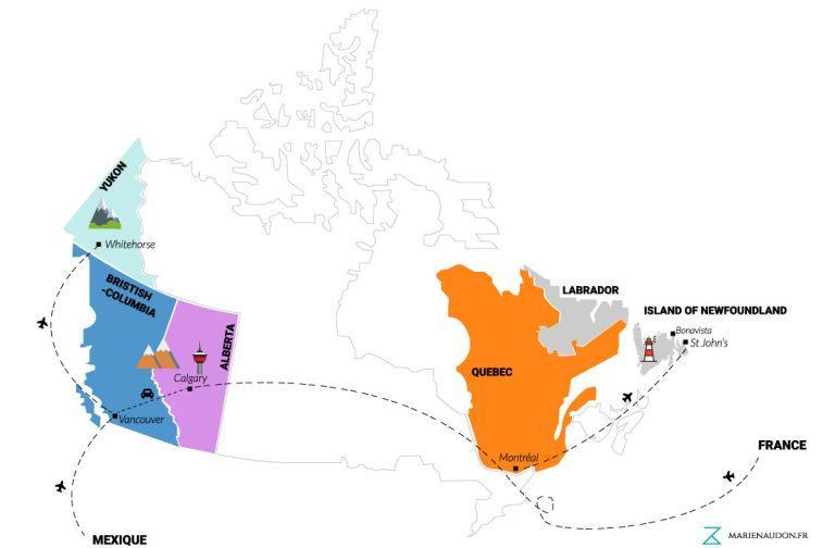 Carte Canada - Bilan un an - Créer par Marie Naudon